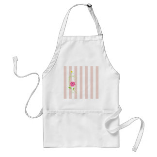 Girly Pink Flowers And Stripes Standard Apron