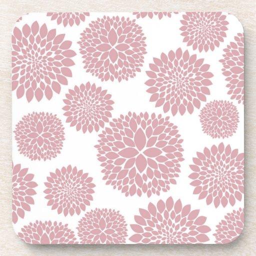 Girly Pink Flowers Beverage Coaster