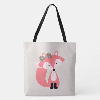 Girly Pink Fox Tote Bag