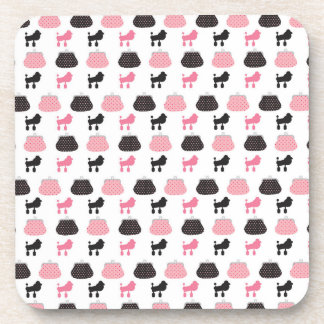 Girly Pink French Poodle Beverage Coaster