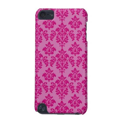Girly Pink Fuchsia Damask Pattern iPod Touch (5th Generation) Cases