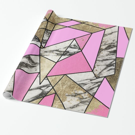 Girly Pink Geometric Gold and Modern Marble Wrapping