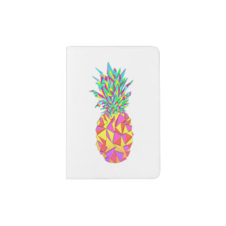 Girly Pink Geometric Triangles Pineapple Passport Holder
