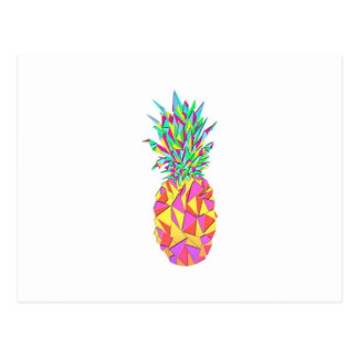 Girly Pink Geometric Triangles Pineapple Postcard