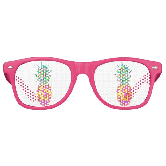 Girly Pink Geometric Triangles Pineapple Retro Sunglasses