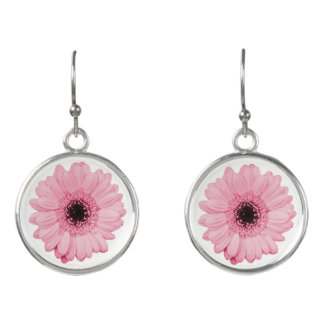 Girly pink gerbera flower elegant drop earrings