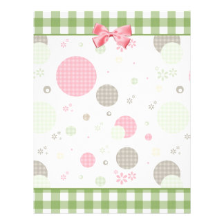 Girly Pink Gingham Pattern Circles Cute Daisies 21.5 Cm X 28 Cm Flyer