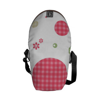 Girly Pink Gingham Pattern Circles Cute Daisies Commuter Bag