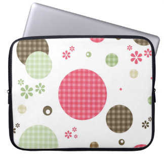 Girly Pink Gingham Pattern Circles Cute Daisies Laptop Sleeve