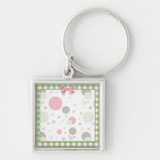 Girly Pink Gingham Pattern Circles Cute Daisies Silver-Colored Square Key Ring