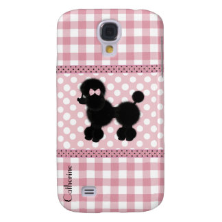 Girly Pink Gingham & Poodle Custom Galaxy S4 Case