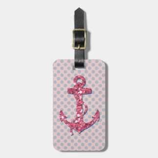 GIRLY PINK GLITTER ANCHOR DOTS PATTERN LUGGAGE TAG