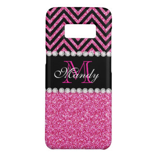 Girly Pink Glitter Black Chevron Monogram Name Case-Mate Samsung Galaxy S8 Case