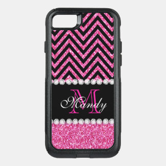 Girly Pink Glitter Black Chevron Monogrammed OtterBox Commuter iPhone 8/7 Case