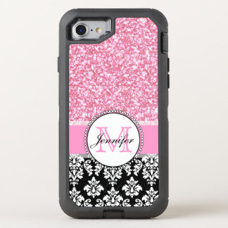 Girly, Pink, Glitter Black Damask OtterBox Defender iPhone 8/7 Case