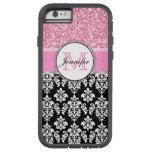 Girly, Pink, Glitter Black Damask Personalised
