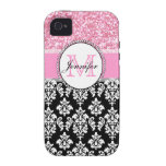 Girly, Pink, Glitter Black Damask Personalised Case-Mate iPhone 4 Covers