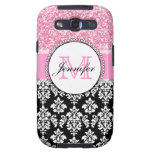 Girly, Pink, Glitter Black Damask Personalised Galaxy S3 Cover