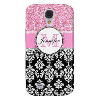 Girly, Pink, Glitter Black Damask Personalized Galaxy S4 Case