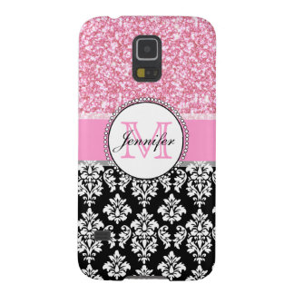 Girly, Pink, Glitter Black Damask Personalized Galaxy S5 Cover