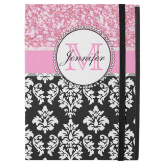 """Girly, Pink, Glitter Black Damask Personalized iPad Pro 12.9"""" Case"""