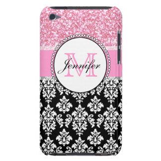 Girly, Pink, Glitter Black Damask Personalized iPod Touch Case