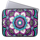 Girly Pink Glitter Floral Mandala Laptop Sleeve