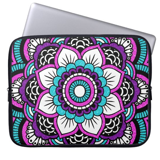Girly Pink Glitter Floral Mandala Laptop Sleeve