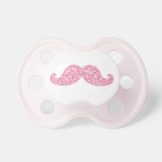 GIRLY PINK GLITTER MUSTACHE PRINTED BABY PACIFIERS