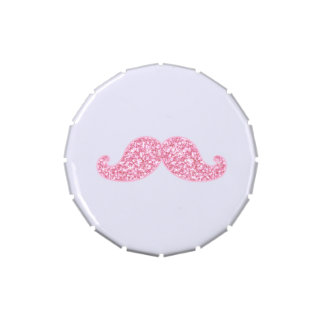 GIRLY PINK GLITTER MUSTACHE PRINTED CANDY TINS