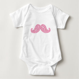 GIRLY PINK GLITTER MUSTACHE PRINTED INFANT CREEPER