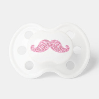 GIRLY PINK GLITTER MUSTACHE PRINTED PACIFIERS