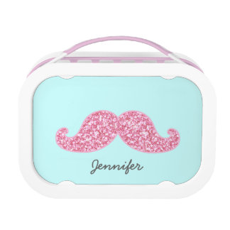 GIRLY PINK GLITTER MUSTACHE | Your Name Lunch Box