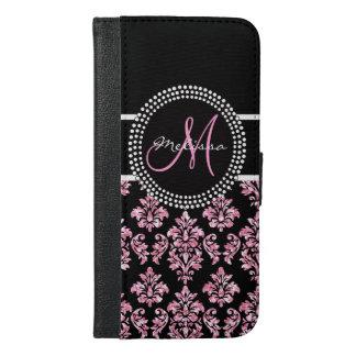 Girly Pink Glitter Printed Black Damask Monogram iPhone 6/6s Plus Wallet Case