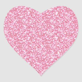 Girly Pink Glitter Printed Heart Sticker