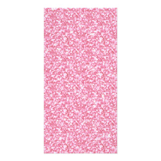 Girly Pink Glitter Printed Photo Cards
