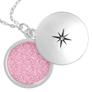 Girly Pink Glitter Printed Silver Plated Necklace