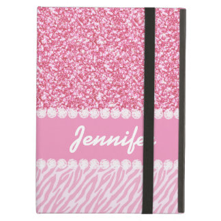 Girly, Pink Glitter, Zebra Stripes, Your Name iPad Air Case