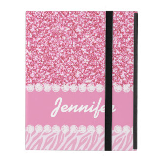 Girly, Pink Glitter, Zebra Stripes, Your Name iPad Cover