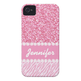 Girly, Pink Glitter, Zebra Stripes, Your Name iPhone 4 Case