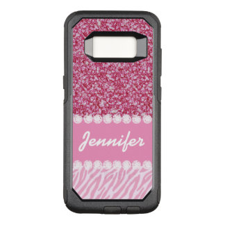 Girly, Pink Glitter, Zebra Stripes, Your Name OtterBox Commuter Samsung Galaxy S8 Case