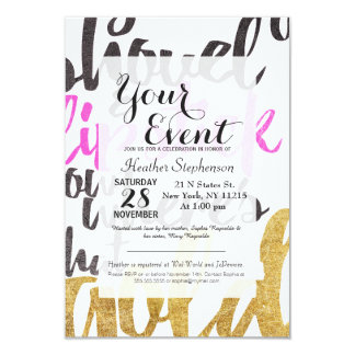 Girly Pink Gold Black Gold Digger Typography 9 Cm X 13 Cm Invitation Card
