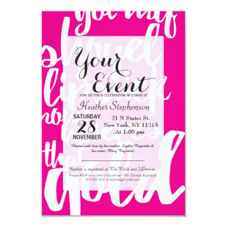 Girly Pink Gold Digger Typography 9 Cm X 13 Cm Invitation Card