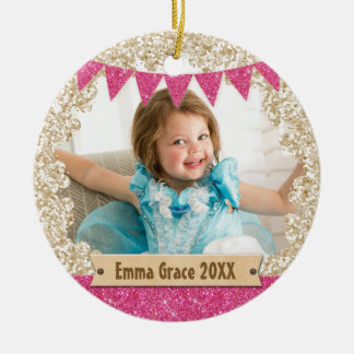 Girly Pink Gold Glitter Custom Photo Monogram Christmas Ornament