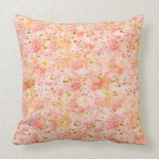Girly Pink Gold Watercolor Confetti Splatters Cushion