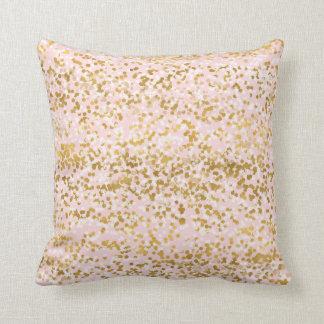 Girly Pink Gold White Confetti Cushion