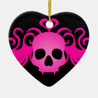 Girly pink goth fanged vampire skull on black christmas ornament