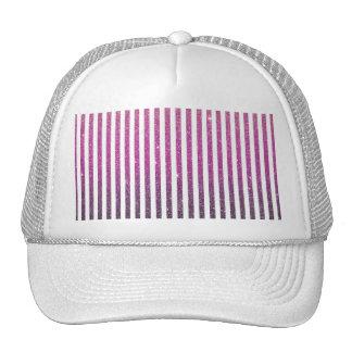 Girly Pink Gradient Stripes Glitter Photo Print Cap