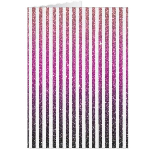 Girly Pink Gradient Stripes Glitter Photo Print Card