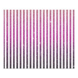 Girly Pink Gradient Stripes Glitter Photo Print